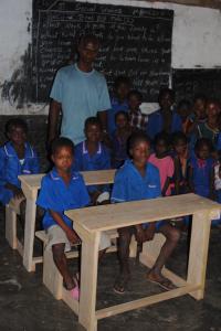 Children at their new desks