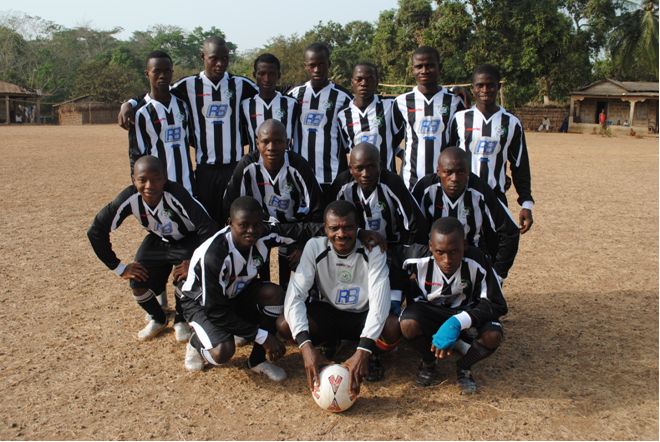 Malakia Village Team. Kit donated by Forest Green Rovers
